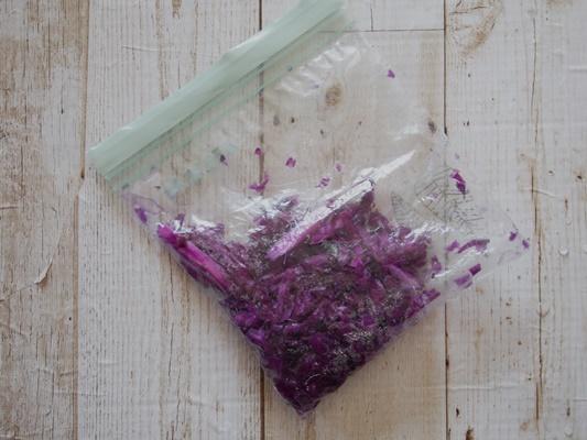 紫キャベツ焼きそば実験